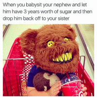 Memes, 🤖, and Sisters: When you babysit your nephew and let  him have 3 years worth of sugar and then  drop him back off to your sister  (a comfy sweater 😂😂😂😂👏 @will_ent -rp @comfysweaters - - - - - text post textpost textposts relatable comedy humour funny kyliejenner kardashians hiphop follow4follow f4f kanyewest like4like l4l tumblr tumblrtextpost imweak lmao justinbieber relateable lol hoeposts memesdaily oktweet funnymemes hiphop bieber trump