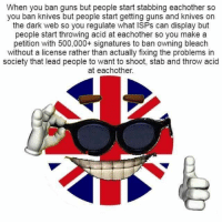 "Dank, Guns, and Meme: When you ban guns but people start stabbing eachother so  you ban knives but people start getting guns and knives on  the dark web so you regulate what ISPs can display but  people start throwing acid at eachother so you make a  petition with 500,000+ signatures to ban owning bleach  without a license rather than actually fixing the problems in  society that lead people to want to shoot, stab and throw acid  at eachother. <p>Any lobsterbacks here? (by The_Real_Gingy ) via /r/dank_meme <a href=""http://ift.tt/2ws8DJ5"">http://ift.tt/2ws8DJ5</a></p>"