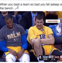 Bad, Fall, and Nba: When you beat a team so bad you fall asleep o  the bench. zzZ  acleanestclipz  NBA  112  GSW 132 CLE  4TH 41.6  24 A tired iggy 😴
