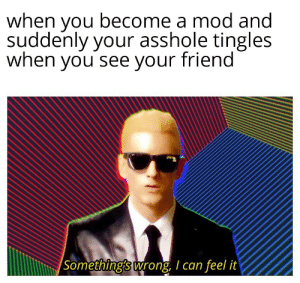 Watch out: when you become a mod and  suddenly your asshole tingles  when you see your friend  |Something's wrong, I can feel it Watch out