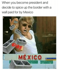 Dank, Mexico, and 🤖: When you become president and  decide to spice up the border with a  wall paid for by Mexico  t MEXICO  PLAYAS DL TIJUANA  ROPUERTO  ROSA Niro-ENSENADA