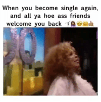 Ass, Friends, and Funny: When you become single again,  and all ya hoe ass friends  welcome you backイ$ae,sada 😂😂😂 funniest15 viralcypher funniest15seconds Www.viralcypher.com