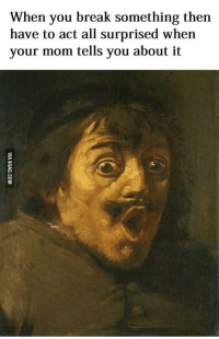 Shocked Face Meme: When you break something then  have to act all surprised when  your mom tells you about it