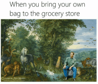 Facebook, Memes, and facebook.com: When you brina your own  bag to the grocery store  CLASSİCALART MEMES  facebook.com/classicalart
