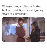 "Fire, Food, and Yo: When you bring yo girl some food on  her lunch break & you hear a nigga say  ""that's yo lil boyfriend?"" Gimme Back My Food And Call The Fire Department. 🤯🤯🤯🤯 WholeBuildingGotToGo"