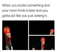 how not to get yo ass whopped 101: When you broke something and  your mom finds it later and you  gotta act like you just seeing it. how not to get yo ass whopped 101