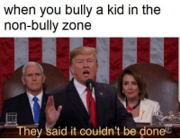 bully: when you bully a kid in the  non-bully zone  They said it couldn't be doneC