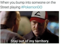 When you bump into someone on the  Street playing  #PokemonGO  Stay out of my territory. Fite me irl