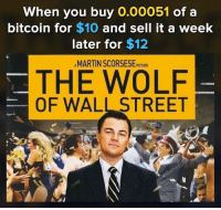 The Wolf of Wall Street: When you buy 0.00051 of a  bitcoin for $10 and sell it a week  later for $12  AMARTIN SCORSESE PICTURE  THE WOLF  OF WALL STREET
