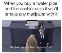 "Marijuana, Water, and Asks: When you buy a 'water pipe'  and the cashier asks if you'll  smoke any marijuana with it  The law requires that I answer ""no"""