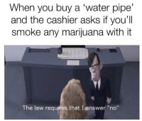 "Http, Marijuana, and Water: When you buy a 'water pipe'  and the cashier asks if you'll  smoke any marijuana with it  The law requires that I answer ""no"" <p>New format spotted, should I invest? via /r/MemeEconomy <a href=""http://ift.tt/2C6QAxT"">http://ift.tt/2C6QAxT</a></p>"