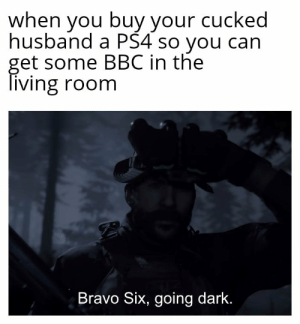 Operation anaconda: when you buyyour cucked  husband a PS4 so you can  get some BBC in the  living room  Bravo Six, going dark. Operation anaconda