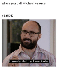 Vsauce : when you call Micheal vsauce  vsauce.  I have decided thatl want to die