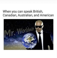 Memes, American, and British: When you can speak British,  Canadian, Australian, and American  r.  Worldwide Bilingual