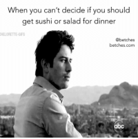 Bachelor, Link, and Sushi: When you can't decide if you should  get sushi or salad for dinner  HELORETTE-GIPS  @betches  betches.com  bc Big decisions this week on the bachelor. Read our recap now from the link in the bio.