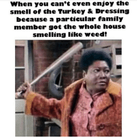 & don't u bring yo ass back in here unless u come correct😒😒😒😒: When you can't even enjoy the  smell of the Turkey & Dressing  because a particular family  member got the whole house  smelling like weed! & don't u bring yo ass back in here unless u come correct😒😒😒😒