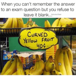 Follow us @studentlifeproblems: When you can't remember the answer  to an exam question but you refuse to  leave it blank.. Malain  Motivation2 Study  CURVED  YEllow FRUIT Follow us @studentlifeproblems