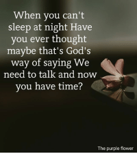 When you can't  sleep at night Have  you ever thought  maybe that's God's  way of saying We  need to talk and now  you have time?  The purple flower <3
