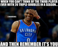 Russell Westbrook joins Oscar Robertson and Wilt Chamberlain as the only players ever with 20+ triple-doubles in one season. #NBAVote: WHEN YOU CANT THINK OF THE THIRD PLAYER  EVER WITH 20 TRIPLE-DOUBLESINASEASON  @NBAMEMES  OKLAHOM  CITY  AND THEN REMEMBERITS YOU Russell Westbrook joins Oscar Robertson and Wilt Chamberlain as the only players ever with 20+ triple-doubles in one season. #NBAVote