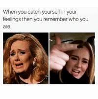 Hello, it's me: When you catch yourself in your  feelings then you remember who you  are Hello, it's me