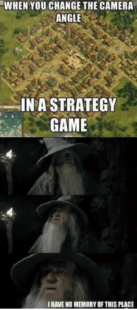 It changes everything.: WHEN YOU CHANGE THE CAMERA  ANGLE  IN A STRATEGY  GAME  I HAVE NO MEMORY OF THIS PLACE It changes everything.