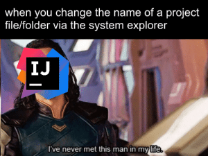 Life, Change, and Never: when you change the name of a project  file/folder via the system explorer  IJ  l've never met this man in my life  (ife. oh no