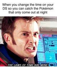 Memes, Pokemon, and Http: When you change the time on your  DS so you can catch the Pokémon  that only come out at night  THE LAWS OF TIME ARE/MINE! The pro strat via /r/memes http://bit.ly/2TXlheI