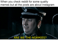 Instagram, Memes, and Reddit: When you check reddit for some quality  memes but all the posts are about Instagram  ARE WETHE NORMIES?  u/thetri Long time lurker, first time poster
