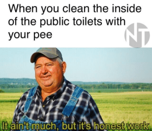 Reddit, Work, and Heroes: When you clean the inside  of the public toilets with  NT  your pee  ltaint much, but it's honest work Not all heroes wear capes