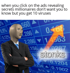 Click, Reddit, and Credit Card: when you click on the ads revealing  secrets millionaires don't want you to  know but you get 10 viruses  560  .286 0168  14563  D.9%  0.12%  2.286  156 0287  WAStonks  AOM 0.1204  0.234 0.1902  N/A  02  213 Dont reccomend i had to put my credit card details in to get it