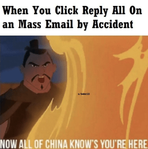 Seriously Though, Don't Start School-Wide Email Chains with Your 2 Friends: When You Click Reply All On  an Mass Email by Accident  u/bobw123  NOW ALL OF CHINA KNOW'S YOU'RE HERE Seriously Though, Don't Start School-Wide Email Chains with Your 2 Friends