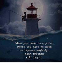 Freedom, Will, and You: When you come to a point  where you have no need  to impress anybody,  your freedom  will begin.