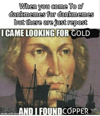 Dank Memes, Gold, and Looking: When you come To/  dankmemes for dankmemes  but there are just repost  ICAME LOOKING FOR GOLD  AND I FOUNDCOPPER  made with me