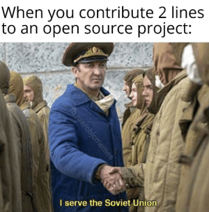 And they're just comments: When you contribute 2 lines  to an open source project:  I serve the Soviet Union  fb.me/objcmemes And they're just comments