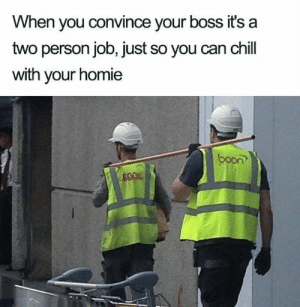 Me irl: When you convince your boss it's a  two person job, just so you can chill  with your homie  boon Me irl