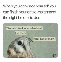 😅: When you convince yourself you  can finish your entire assignment  the night before its due  The risk I took was calculated  but man,  am I bad at math.  SP 😅