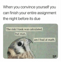 :-(: When you convince yourself you  can finish your entire assignment  the night before its due  The risk I took was calculated  but man,  am I bad at math  SP :-(
