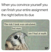 Or just use @unemployed_professors: When you convince yourself you  can finish your entire assignment  the night before its due  The risk I took was calculated  but man,  am I bad at math.  SP Or just use @unemployed_professors
