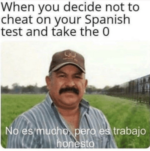 Spanish, Test, and MeIRL: When you decide not to  cheat on your Spanish  test and take the 0  No es mucho pero es trabajo  honesto meirl