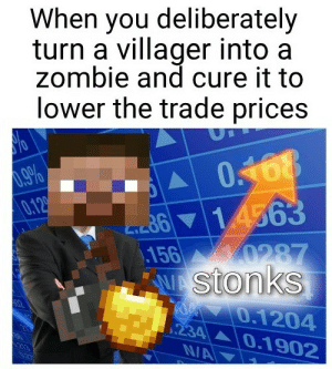 Dead meme ik: When you deliberately  turn a villager into a  zombie and cure it to  lower the trade prices  .9%  0.12  m614563  156  0287  Stonks  0.1204  234 0.1902  N/A Dead meme ik