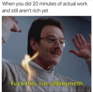 Work, Fuck, and Venmo: When you did 20 minutes of actual work  and still aren't rich yet  Fuck this, i'm selling meth i also accept venmo