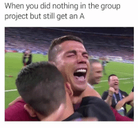 When your group members are idiots and y'all still pass: When you did nothing in the group  project but still get an A When your group members are idiots and y'all still pass