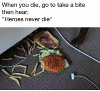 """Click, Friends, and Memes: When you die, go to take a bite  then hear:  """"Heroes never die"""" Click the link in my bio to participate in a completely free 3v3 Overwatch tournament on Xbox One! It's a ton of fun and supports me! Tag your friends! PaidSponsorship"""