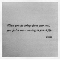 moving in: When you do things from your soul,  you feel a river moving in you, a joy.  RUMI