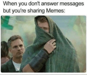 Dont Answer: When you don't answer messages  but you're sharing Memes: