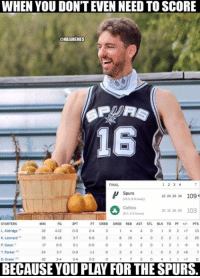 Celtic, Nba, and Celtics: WHEN YOU DON'T EVEN NEED TO SCORE  @NBAMEMES  16  FINAL  Spurs  24 29 34 109  Celtics  29 103  (9-7, 43 Hoene)  STARTERS  MINI  FG 3PT  DREB REB AST STL BLK TO PF  PTS  L Aldridge  32 4-12  0-0  2-4  K. Leonard  8-18  P. Gasol  17  T. Parker Pa  24 3.7  0-0  D Green  3-4  BECAUSE YOU PLAY FOR THESPURS. Must be nice... #Spurs Nation