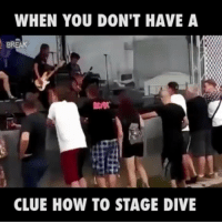 Memes, 🤖, and How: WHEN YOU DON'T HAVE A  CLUE HOW TO STAGE DIVE Rule number one - have some friends there to support the dive...
