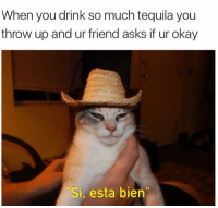 Funny, Jose Cuervo, and Throwing Up: When you drink so much tequila you  throw up and ur friend asks if ur okay  Si, esta bien Donde esta Jose Cuervo