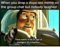 Ass, Dope, and Group Chat: When you drop a dope-ass meme on  the group chat but nobody laughed  There seems to be no sign of  intelligent life anywhere.