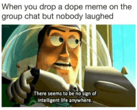 There Seems To Be No Sign Of Intelligent Life Anywhere: When you drop a dope meme on the  group chat but nobody laughed  There seems to be no sign of  intelligent life anywhere